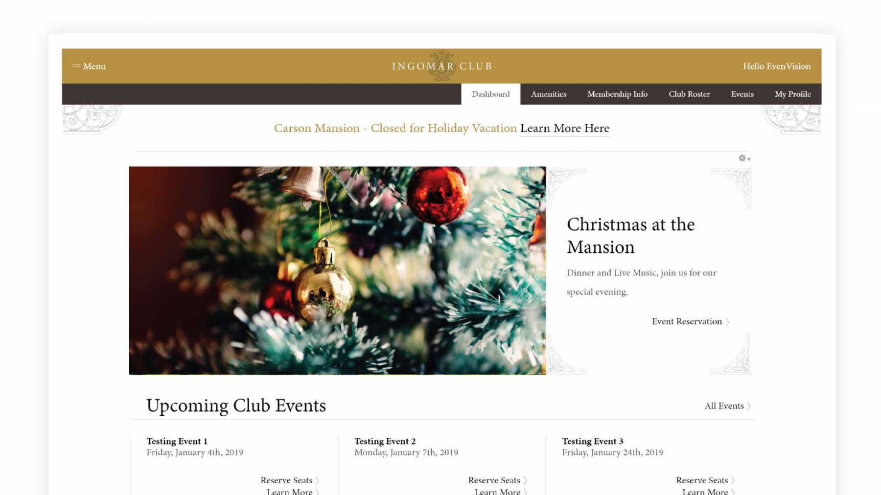 Image showing example of member's exclusive website experience